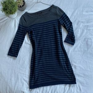 Banana Republic Cotton Dress (striped grey + blue)